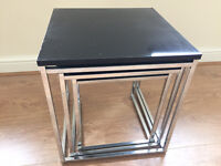 Nest of 3 tables - chrome and black gloss top.