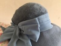 Vintage hat in duck egg blue with a bow