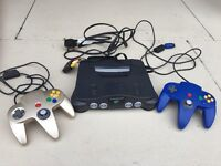 Nintendo 64 console and 2 controllers