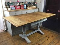 Shabby chic vintage extending dining table painted Annie Sloan Paris grey