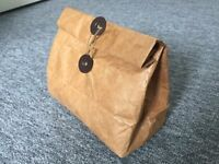 Unused small insulated paper lunch bag with retro button and twine fastening