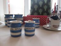 Vintage 1930's , including rare Blue and White Striped T.G.Green Cornish Ware. Black & Green Shield