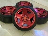 "16"" 3SDM 0.5 ALLOY WHEELS 5X100 STAGGERED CANDY RED AUDI A3 TT VW POLO GOLF MK4 FABIA VRS"