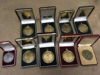 9 golf medals in velvet boxes for recycling or renovation £12 Coulsdon Surrey