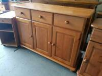 Pine three drawer sideboard