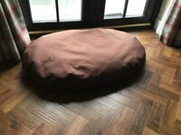 & L Superior Pet Beds Heavy Duty Waterproof Oval Cushion, Large, 110 x 76 x 15 cm, Brown