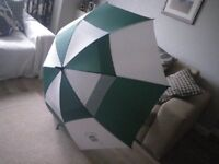 GREEN and WHITE LARGE GOLFING UMBRELLA. PROMOTES THE CULTS HOTEL in CITY of ABERDEEN.