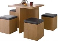 Brand New Oak Space Saver Table and 4 Stools