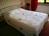 Cream leaf embroidered bedspread- king size but would also fit double