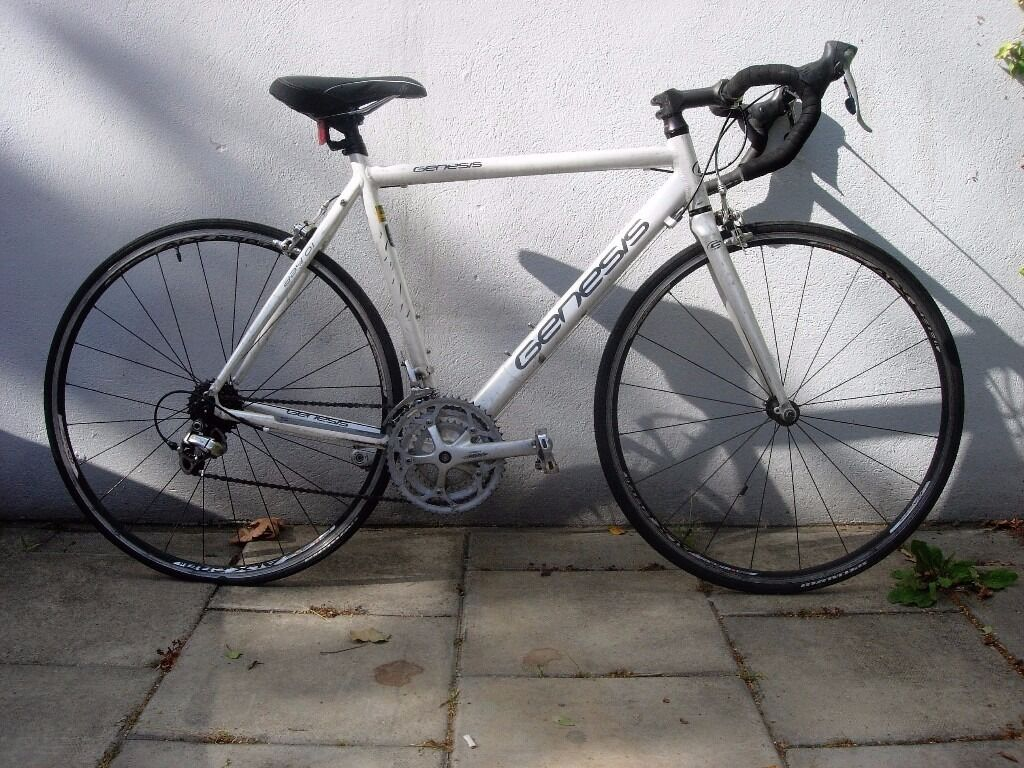 Mens Road/ Racer Bike by Genesis, White, Light WeightFast, Top Spec, JUST SERVICED/ CHEAP PRICEin Camden Town, LondonGumtree - Genesis Day 01 Mens Road/ Racer, White, Light3 X 9 27 Speed Ultegra Gears Shimano 105 STI Shifters,Specialized Stem and Aluminium Bars, Dual Pull Brake Calipers Alex 298 Double Walled Rims with Swiss Stainless Spokes on A Class Hubs Specialized...