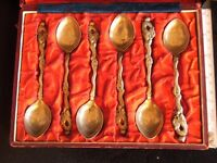 6 Japanese Nagasaki Silver Spoons, boxed set, from about 1900