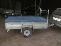 GALVANISED 6-6 X 4-0 GOODS TRAILER WITH DROPTAIL LADDER RACK & COVER..