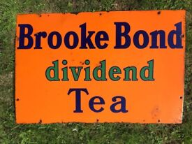 Brooke Bond dividend Tea Enamel Sign 75 x 50 cm in reasonable condition. See photo for details.