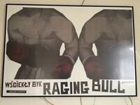 Framed polish raging bull poster - almost new and excellent condition