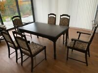 DINING TABLE 6 TO 10 SEATER AND 6 CHAIRS (2 CARVERS)