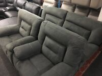 New/Ex Display Harvey's Grey Kinman 3 + 1 + 1 Seater Recliner Sofas