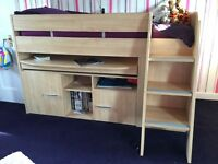 Cabin bed with pull out desk and storage