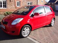 2008 - TOYOTA YARIS 1.3 - RED - FULL SERVICE HISTORY - ECONOMICAL - LOVELY- LOW INSURANCE -NEW M.O.T