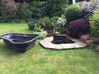 Libel 750 litre rigid PVC garden pond liner with built-in plant shelf and stepped ledges