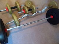 Gym Fitness Bench, Weights and barbell for SALE!