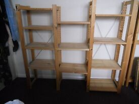Ikea wooden narrow shelving unit for sale.