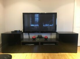3 PART DARK BROWN/BLACK TV UNIT | EXCELLENT CONDITION | £100