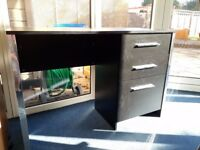 Black ash effect desk with three drawers