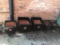 Terracotta painted plant pots set of six