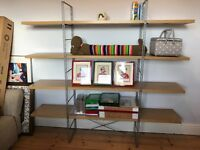 IKEA freestanding wooden shelves with metal frame