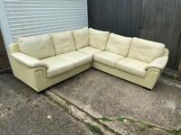Cream leather corner sofa*can deliver