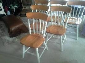 6 Farmhouse Chairs, Shabby Chic