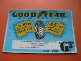 Vintage Blotting Paper Card Goodyear Tyres Weymouth