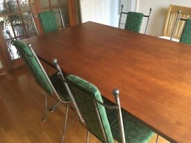 Excellent oak dining table and 6 chairs, green, metal frame