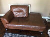 DFS chaise sofa leather tan colour