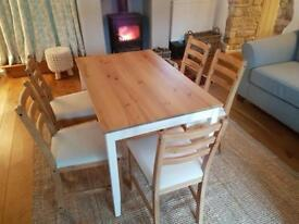 Country kitchen dining table and 5 chairs