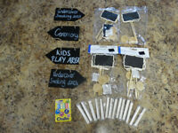 Selection of mini signs and chalk for sale