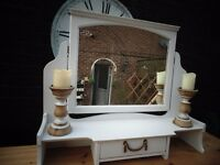 STUNNING ANTIQUE SOLID WOOD DRESSING TABLE TOP MIRROR PAINTED WITH LAURA ASHLEY PALE DOVE
