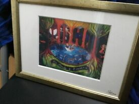 Various Paintings and signed Prints Disney Pineapple in gold box frame signed, others