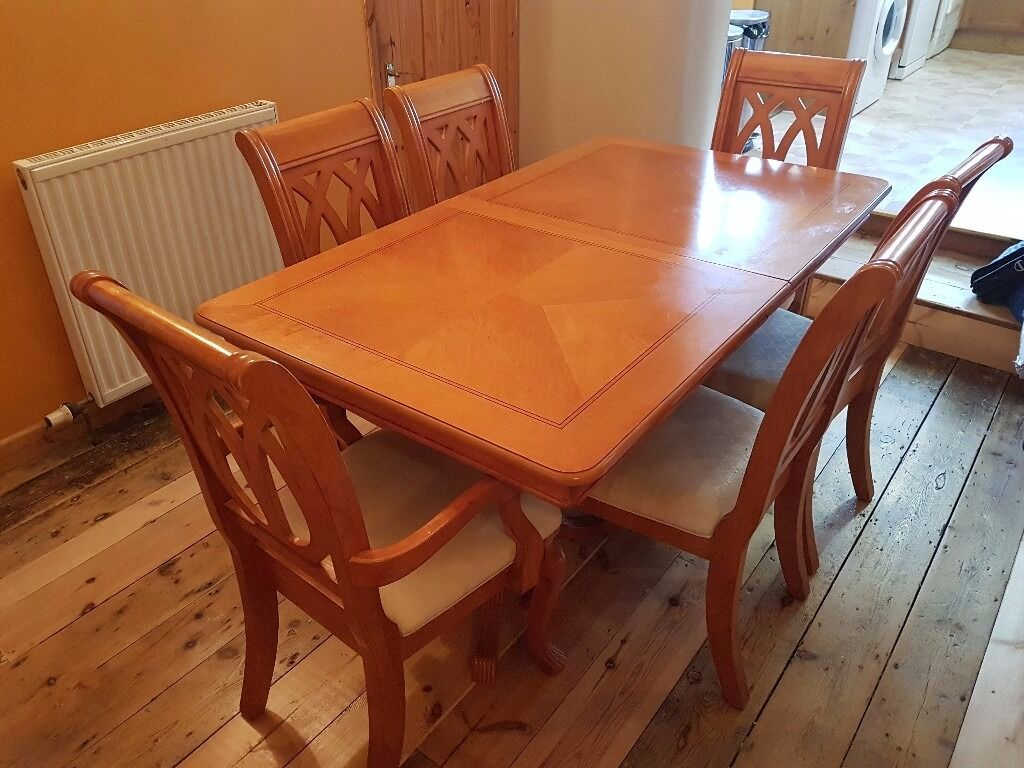 Dining table, 6 chairs and sideboardwood veneerin Plymouth, DevonGumtree - Dining table 90cm x158cm extending to 230cm, seats 6 10, with six matching chairs and sideboard 150cm x 44 cm x 87.5cm high. Wood veneer finish, some scratches on table but generally good condition, selling because of house move. Table dismantles for...