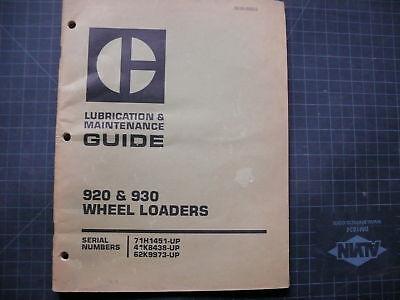 Cat Caterpillar 920 930 Wheel Loader Owner Maintenance Lubrication Manual Guide