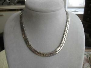 "GORGEOUS OLD VINTAGE 3/8"" WIDE SILVERTONE DOUBLE-LINK NECKLACE"