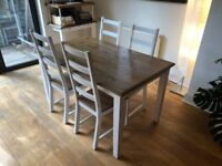 Timber dining room extendable table, 4 chairs and bench seat
