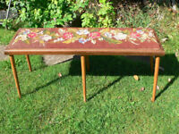 Antique Vintage Long Wooden Piano Stool w/ Woven Arts And Craft Design Cusion C1920