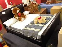 Brown Leather Double Bed + New Mattress