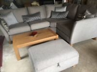 Corner Sofa and Storage Footstool Silver:Grey NEW