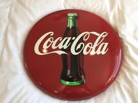 Coca Cola Round Metal Sign Vintage/Retro 1990