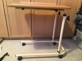 Over bed hospital adjustable height table / desk