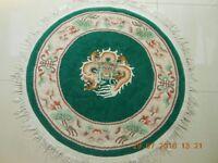 RUG - CHINESE GENUINE 100% WOOL ORIENTAL RUG – DRAGON DESIGN/DARK GREEN BACKGROUND.