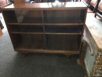 Stylish Vintage Retro Slim Bookcase with Sliding Glass Front Doors with 4 Adjustable Shelves