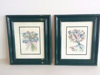 Pair of Floral Prints with frame